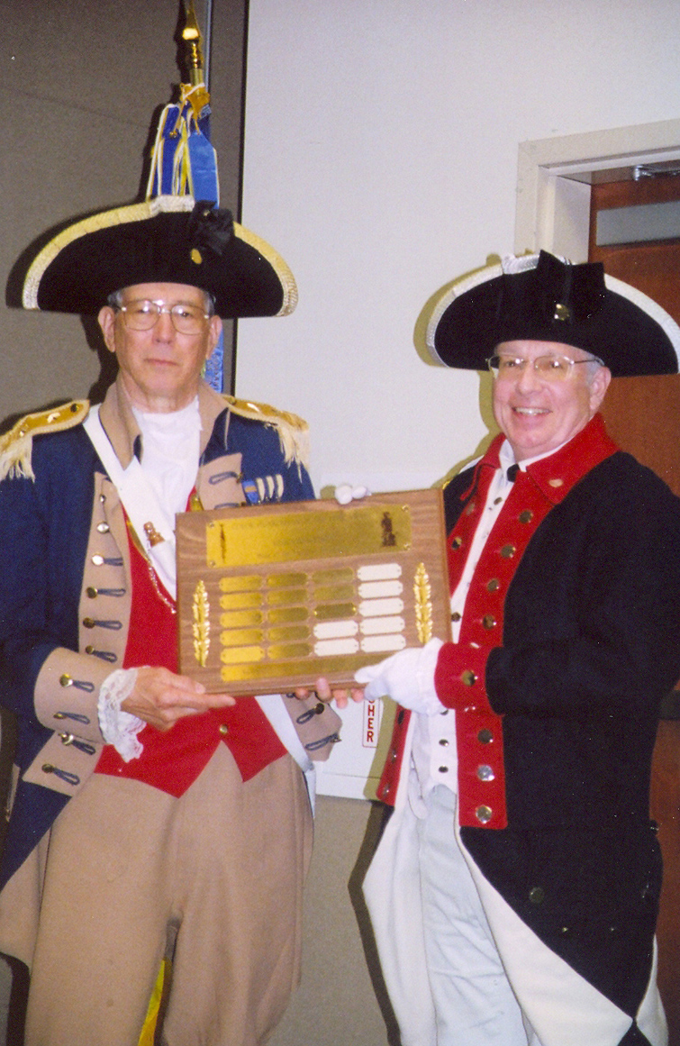 Pictured here is Major General Robert L. Grover, MOSSAR Color Guard Commander presenting the MOSSAR Color Guardsman Award of the Year for 2008 to Captain Russell F. DeVenney, Jr. The presentation was conducted at the 118th Annual Missouri State Convention in Independence, Missouri on April 25-26, 2008.