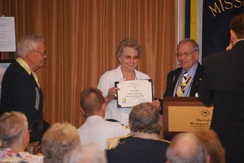 "Pictured here is Russell F. DeVenney, Jr., Chairman, Winona R. Yohe Award, presenting Mrs. Shirley McCann, spouse of Compatriot David McCann, the 2010 Winona R. Yohe ""Women of the Year"" Award. MOSSAR and the Harry S. Truman Chapter is extremely proud of Shirley McCann."