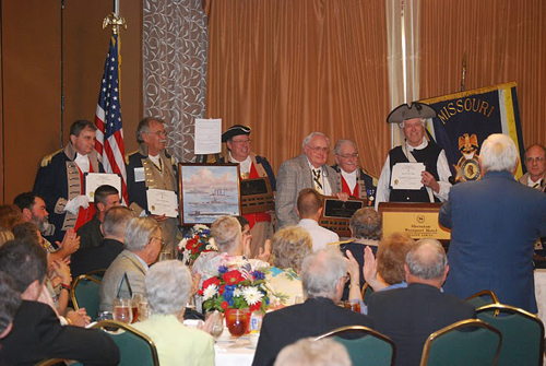 Pictured here is MOSSAR Chapter Presidents and/or their representatives  being presented recognition for their participation in the 2010 MOSSAR Yearbook Award.  Michael J. Kelly, Chapter President for the Ozark Mountain Chapter was presented as the winner in the large chapter category.  James L. Scott, Chapter President for the Independence Patriots Chapter, was presented as the winner in the small chapter category.