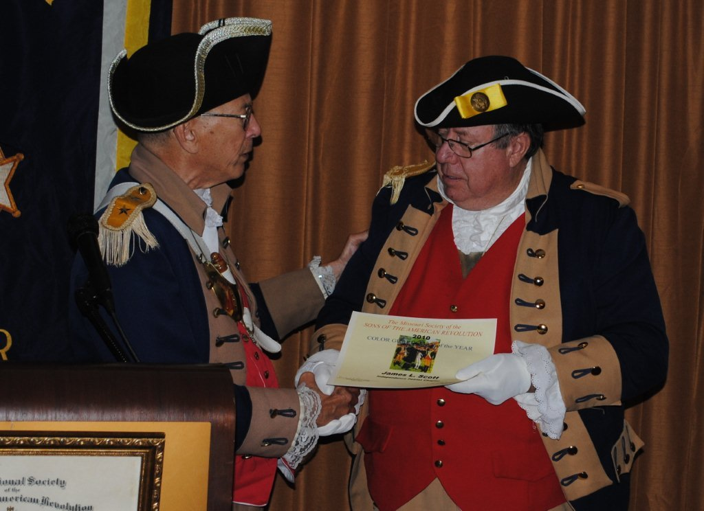 Pictured here is Major General Robert L. Grover, MOSSAR Color Guard Commander, presenting the MOSSAR Color Guardsman Award of the Year for 2010 to Compatriot James L. Scott. The presentation was conducted at the 121st Annual Missouri State Convention in St. Louis, Missouri on April 30, 2011.