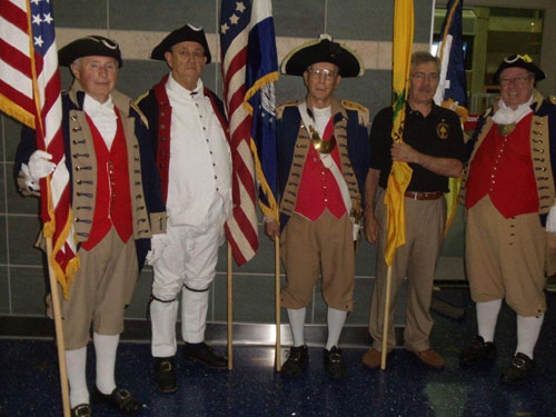 Pictured here is the MOSSAR Color Guard team from the Kansas City area, who are shown here at the Honor Flight Greeting for WWII Veterans at Kansas City International on Tuesday evening, May 1, 2012.