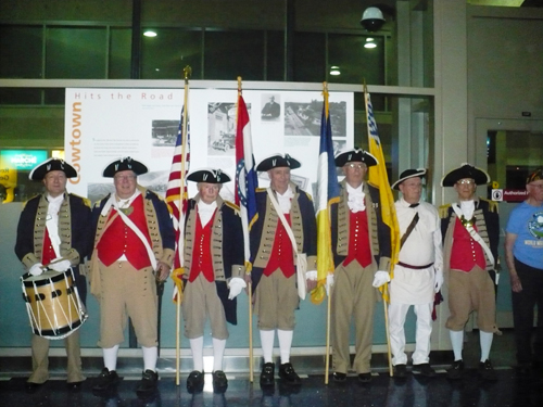 Pictured here is the MOSSAR Color Guard team from the Kansas City area, who are shown here at the Honor Flight Greeting for WW II Veterans at Kansas City International on Monday evening,  May 6, 2014.