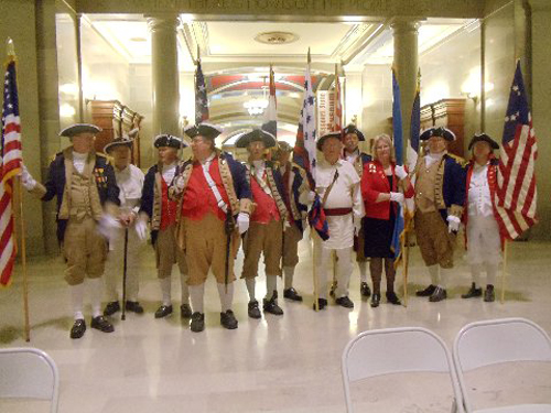 The MOSSAR Color Guard team is shown here participating with the he Missouri Sate Society Daughters of the American Revolution, in a Dedication Ceremony for Revolutionary War Patriots Buried in Missouri.  The Dedication Ceremony took place on Friday, May 9, 2014 2:00 pm at the Missouri State Capital Retunda in Jefferson City, MO.