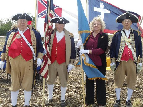 The MOSSAR Color Guard is shown here participating in the Hollingsworth Cemetery Dedication, which was conducted by the Sons of Union Veterans of the Civil War Westport Camp #64 and other linage societies at Hollingsworth Cemetery located east of Lawson, Missouri on May 18, 2014.