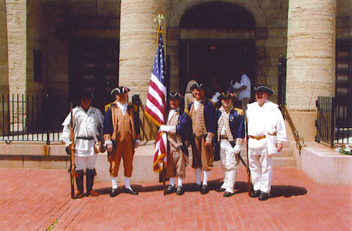 Brigadier General Stephen Baldwin, MOSSAR Eastern Color Guard Commander, the Missouri Continental Militia is shown here with the MOSSAR Color Guard at the 226th Anniversary of the Battle of Fort San Carlos on Sunday, May 28, 2006. The MOSSAR Color Guard is shown here at the Memorial Park and Old Cathedral located at the Jefferson National Expansion.