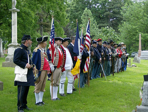 This picture is a solemn reminder of the veterans from all the nation's wars who are buried in Union Cemetery, from the American Revolution through the Vietnam conflict.  The MOSSAR Color Guard, Society of the War of 1812,  and Sons of the Union Army of the Civil War participated in the Memorial Day event located at Union Cemetery in Kansas City, MO.