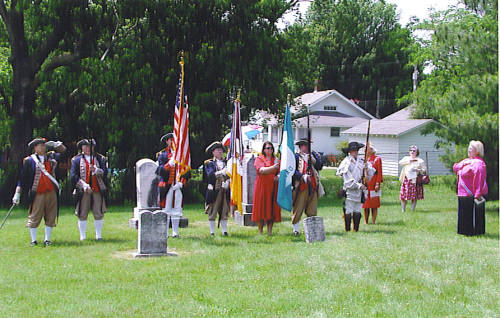 Pictured here with the Columbia Chapter, National Society Daughters of the American Revolution, is the MOSSAR Color Guard Team on Sunday, June 4 2006. The team participated in the grave marking ceremony of Revolutionary War Soldier Samuel Elgin of Maryland. Patriot Samuel Elgin is buried in the Columbia City Cemetery in Columbia, MO.