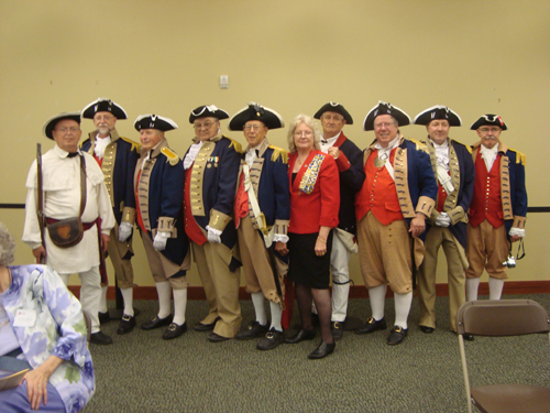 The MOSSAR Color Guard is shown here participating in the Independence Pioneer Chapter Celebration of 100 Years of Service at the Midwest Genealogy Center in Independence, MO on June 4, 2014.