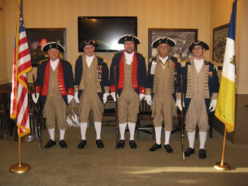 Pictured here is the Fernando de Leyba Chapter Color Guard team at their monthly meeting, held in St. Charles, Missouri on Monday, June 10, 2013. Special activities included the recognition of new Color Guard member Compatriot Steven White.