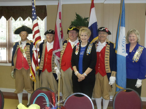 Pictured here is LaDonna Scott, Lafayette-Lexington Chapter DAR Regent and the MOSSAR Color Guard team, at the 110th Lafayette-Lexington Chapter Birthday Celebration, held at the First Baptist Church, 525 S. Main, 13 Hwy in Lexington,  Missouri on Wednesday, June 19, 2013.