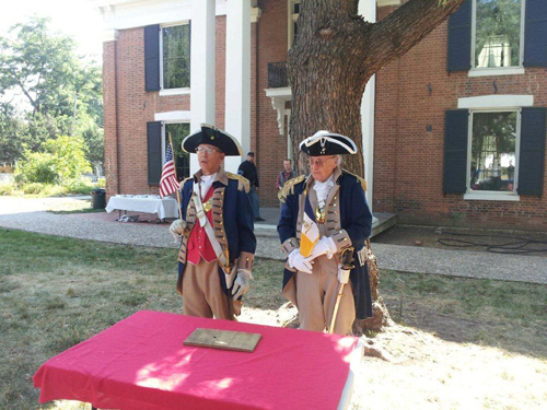 Shown here is the MOSSAR and KSSSAR Color Guard Teams, who participated on Saturday, July 14, 2012 at the Alexander Majors Chapter breakfast meeting at the John Wornall House Museum, 6115 Wornall Road in Kansas City, MO.   Compatriot Richard Byrant spoke on the $130,000, 2012 & 2013 NSSAR National Congress.  In addition, a Museum tour guide also spoke on the history of the house, and the group later took a tour of the home.