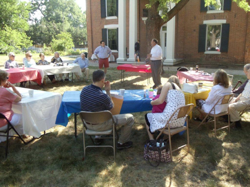 Shown here is the MOSSAR and KSSSAR Color Guard Teams, who participated on Saturday, July 14, 2012 at the Alexander Majors breakfast meeting at the John Wornall House Museum, 6115 Wornall Road in Kansas City, MO.   Compatriot Richard Byrant spoke on the $130,000, 2012 & 2013 NSSAR National Congress.  In addition, a Museum tour guide also spoke on the history of the house, and the group later took a tour of the home.