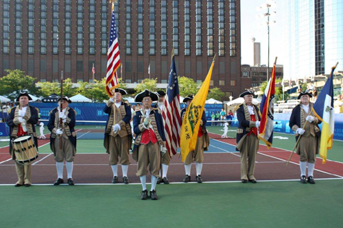 Shown here are both the MOSSAR and KSSSAR Color Guard Teams, who participated in the opening ceremonies of the Kansas City Explorers World Team Tennis (WTT) Matches. The MOSSAR and KSSSAR Color Guard Teams presented the National and SAR Colors at the WTT matches, held at Barney Allis Plaza in Kansas City, MO on two separate occasions including July 15 and 20th, 2012.