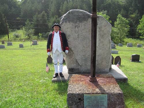 Pictured here is Compatriot Jesse Lybarger at the Lybarger Revolutionary War Memorial in Madley, Pennsylvania which include five Lybargers that fought in the Revolutionary War. Three brothers and two sons of the brother are in Compatriot Jesse Lybarger direct lineage.