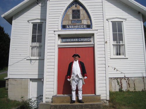 Pictured here is Compatriot Jesse Lybarger at the Lybarger Lutheran Church in Madley, Pennsylvania.