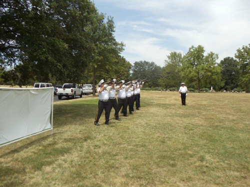 The Memorial was conducted by the American Legion Post 189 of Lee's Summit, MO, in which there was a 21 gun salute.