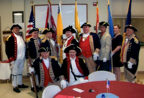 Shown here is the MOSSAR Color Guard participated in the Pvt. Martin Warren Society - C.A.R. Society Organizing Meeting, on Suday, August 14, 2011, at the Workshop Cafe in Warrensburg, Missouri.