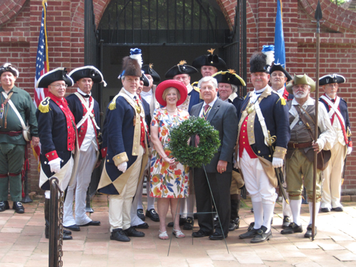 Pictured here is NSSAR President General Stephen A. Leishman and his wife Janet Leishman, and the National SAR Color Guard, who participated in a special wreath laying ceremony on Saturday, September 8, 2012. The National SAR Color Guard stood vigil at George Washington's Tomb after this ceremony. The MOSSAR Color Guard team, who also participated with the National Color Guard, stood vigil at George Washington's Tomb on the grounds of Mount Vernon in Virginia on Saturday, September 8, 2012.