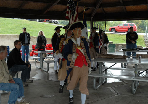 The MOSSAR Color Guard is shown here participating in a Constitution Day Reading with the Corps of Discovery C.A.R. Society of Kansas City, MO.  The Constitution Day 2011 event took place at Keystone Park in Blue Springs, MO on Saturday, September 17, 2011. The program started at 2:30 PM.  The children marched with the MOSSAR Color Guard carrying smaller flags. Followed by the opening ceremony, the U.S. Constitution was then read.  The MOSSAR Color Guard also retired the colors after the reading.