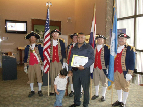 Pictured here is the MOSSAR Color Guard team during the Naturalization Ceremony held at the Harry S. Truman Library in Independence, MO on Tuesday, September 11, 2012. This event was sponsored by Independence Pioneers Chapter DAR Chapter.  A dream for 49 new citizens from 36 countries were realized on Tuesday, September 11, 2012; the 225th anniversary date of the signing of the U.S. Constitution.