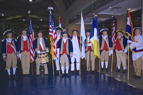 Pictured here is the MOSSAR Color Guard team from the Kansas City area, who are shown here at the Honor Flight Greeting for WW II Veterans at Kansas City International on Wednesday evening, October 2, 2013.