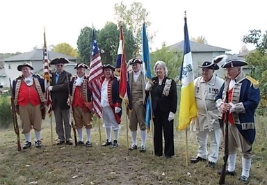 Patriot Robert Lemon's 260th birthday celebration on Saturday, October 6, 2012, brought more than 90 people — including about 40 relatives from 10 states — to his gravesite on Creasy Springs Road to dedicate a new marker honoring his service in the Revolutionary War.  At the ceremony, the MOSSAR Color Guard from the Missouri Society of Sons of the American Revolution fired a salute.