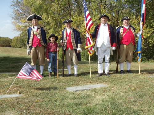 Pictured here is the MOSSAR Color Guard team at a Blue Springs DAR Chapter Grave Marking at the Mound Grove Cemetery, Independence, Missouri on Saturday, October 8, 2011.