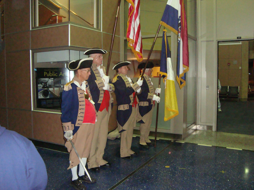 Pictured here is the MOSSAR Color Guard team from the Kansas City area, who are shown here at the Honor Flight Greeting for WW II Veterans at Kansas City International on Tuesday evening, October 16, 2012.