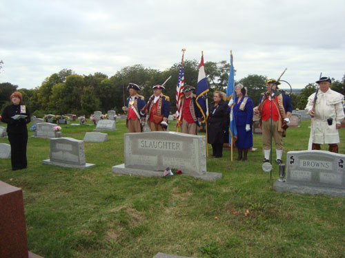 Pictured here is the MOSSAR Color Guard team at a Grave Marking for Dora Elizabeth Hudspeth Slaughter, an Independence Pioneers Chapter DAR Chapter member who is buried at Buckner Hill Cemetery in Buckner, Missouri. The MOSSAR Color Guard team is shown here on Wednesday, October 16, 2013.