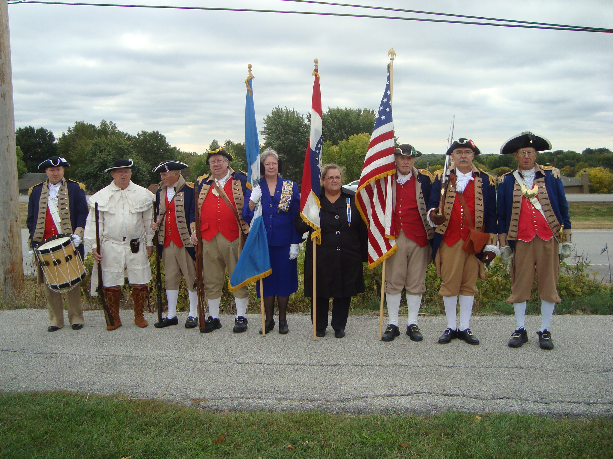 Pictured here is the MOSSAR Color Guard team at a Grave Marking for Eleanor Jean Creason Shafer, an Independence Pioneers Chapter DAR Chapter member who is buried at Salem Cemetery in Independence, Missouri. The MOSSAR Color Guard team is shown here on Wednesday, October 16, 2013.