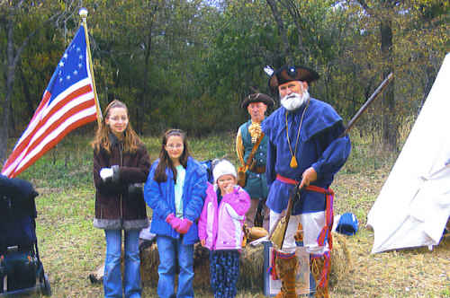 The MOSSAR Color Guard Team participated on Saturday, October 17th, 2009, at the Nathan Boone Homestead, located in Boonsville, MO, where they honored Nathan Boone by talking to children and parents about early frontier life. Early Missourians knew Nathan Boone as a hunter, soldier, surveyor and entrepreneur. They also knew him as his father's son. Boone, youngest child of the famous Daniel Boone, carried his family's legacy deep into the Missouri Ozarks and the American West.