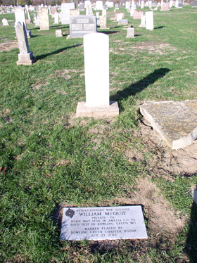 Grave Marker of Patriot William McQuie located at Bowling Green City Cemetery in Bowling Green, Missouri.