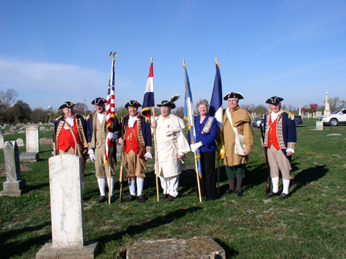 An American Revolution War Patriot Dedication for Patriot William McQuie, was held on Saturday, October 27, 2012 by the Bowling Green DAR Chapter.   The MOSSAR Color Guard from the Missouri Society of Sons of the American Revolution participated in the Dedication.  The Dedication for Patriot William McQuie was held at the Bowling Green City Cemetery in Bowling Green, Missouri.