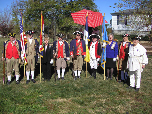 Pictured here is the MOSSAR Color Guard team on Sunday, October 27, 2013.  The MOSSAR Color Guard team assisted with the Presentation of Colors and a Musket Firing during the  Rededication of DAR Marker, for the Drover Inn Site near Williamsburg, Missouri just east of Columbia, Missouri on B Highway North.