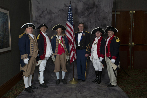 The MOSSAR Color Guard from the Missouri Society of Sons of the American Revolution, participated in the 16th Annual Military Gala & Banquet, conducted at the Chateau on the Lake in Branson, Missouri on November 9, 2012. This event is hosted by the P.O.W. Network. All branches, all wars were welcome, in which they saluted Wounded Warriors/Purple Heart Recipients. There was a Dinner, salute, entertainment and fireworks. This is Branson's longest running tribute ball.