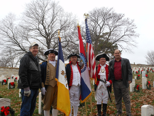 The MOSSAR Color Guard Team participated in presenting and retirement of the colors during the Wreaths Across America Ceremony on December 8, 2012. The team participated in the Wreaths Across America Ceremony located at the National Cemetery in Jefferson City, Missouri, which honors Missouri veterans.