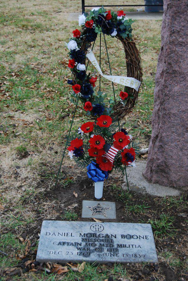 Grave Marker of Captain Daniel Morgan Boone located at Captain Daniel Morgan Boone Cemetery in Kansas City, Missouri.