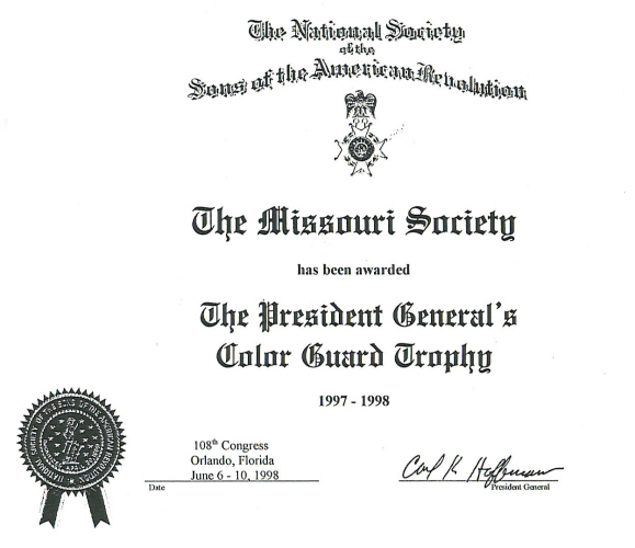 The President General's Color Guard Trophy certificate awarded to the MOSSAR Color Guard team while attending the 108th Annual Congress NSSAR in Orlando, FL June 6 - June 10, 1998
