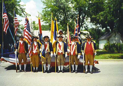 The MOSSAR Color Guard team at Bolivar, MO on July 5, 1998