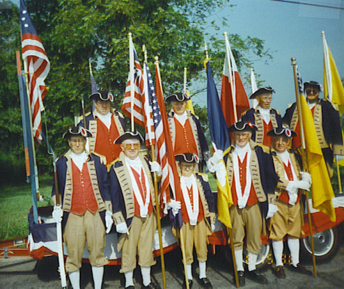 The MOSSAR Color Guard team participating in the Commemoration of the Battle of Lone Jack, Lone Jack, MO on August 15, 1998