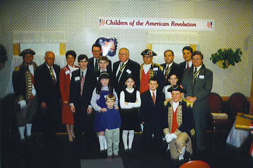 The MOSSAR Color Guard team is shown here along with the William Freeman Society Children of the American Revolution (CAR) during the Organizing Cermony in Springfield, MO on February 13, 1999 at 11:00 AM. The William Freeman CAR Society is sponsored by the Ozark Moutain SAR Chapter and Rachel Donelson DAR Chapter