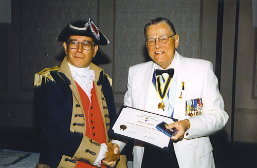 The MOSSAR Color Guard Commander Robert L. Grover being awarded the NSSAR Colorguardsman of the Year - Missouri Society, SAR during the 110thth Annual Congress NSSAR in Boston, MA June 24 - June 27, 2000