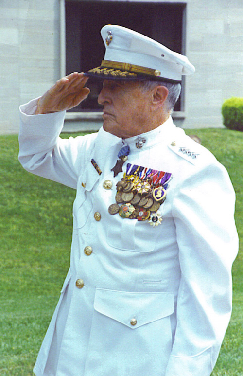 United States Marine Corps General Raymond Gilbert Davis, shown here presenting arms during the wreath-laying ceremony event at the Harry S. Truman Library on August 5, 2000 at 11:00 AM. General Davis was recognized by the Harry S. Truman Appreciation Society and was a guest speaker for this event