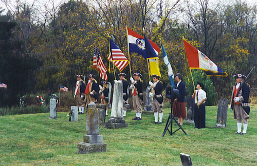 MOSSAR Color Guard team attend the grave marker dedication for Private Hugh Larrimore, North Carolina Militia, Revolutionary War, who is buried at the Pisgah Cemetery, Pisgah, MO on October 22, 2000 at 2:00 PM