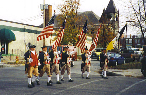 MOSSAR Color Guard team at at Sadalia, MO parade on December 2, 2001.  They were selected for the Judge's Choices Winner in the Chamber Choice Award category