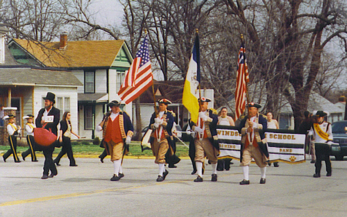 MOSSAR Color Guard team at Windsor, MO Parade on March 30, 2002