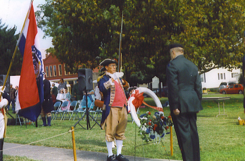 MOSSAR Color Guard Commander Robert L. Grover during the 229th Anniversary of the Battle of Point Pleasant, WV on October 5th, 2003