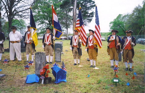 MOSSAR Color Guard members are shown here at the James Hopkins grave marking ceremony on Sunday, May 1st, 2005. In the summer of 1781, James Hopkins, at the age of 16, was drafted into the Continental Army.  He served as a Private in COL Thomas Farmer's North Carolina regiment. He participated in the Battle of Eutaw Springs in South Carolina.  James Hopkins died in 1849 at the age of 84 and was buried in the family cemetery on his farm, located about two miles west of Fair Play on East 425th Road in Polk County