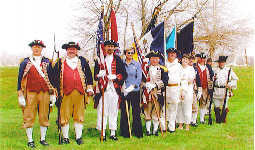 Members of the MOSSAR Color Guard and the Chairity Stille Langstaff Chapter of the Missouri State Society Daughters of the American Revolution, are shown here at the Pvt. John Colter Monument Dedication at New Havon, MO on April 2, 2006. Pvt. John Colter was a member of the Lewis & Clark Corps of Discovery