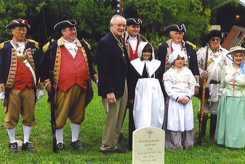 Harry S. Truman Chapter President Rommie Carr and the MOSSAR Color Guard are shown here at the Nathaniel Lewis SAR Dedication on September 17th, 2006. Also pictured here is Mrs. Cathy Owens, current Senior National Librarian and Senior President of the Corps of Discovery Society of the Children of the American Revolution in Kansas City, MO.  Also pictured here is Victoria Stapleton and Anna DeVenney who are members of the Corps of Discovery Children of the American Revolution